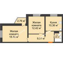 2 комнатная квартира 54,36 м² в ЖК Корабли, дом № 9-1 - планировка