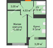 1 комнатная квартира 39,31 м² в ЖК Университетский парк, дом 2 очередь - планировка