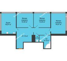 3 комнатная квартира 107,6 м², Жилой дом на ул. Платонова, 9,11 - планировка
