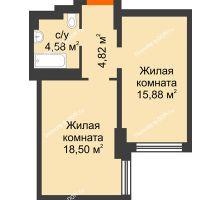 2 комнатная квартира 41,56 м², ЖК Левенцовский - планировка