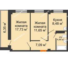 2 комнатная квартира 52,57 м², Жилой дом в 7 мкрн.г.Сосновоборск - планировка