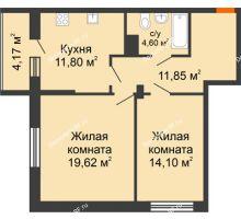 2 комнатная квартира 66,14 м², ЖК Галактика - планировка