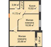 2 комнатная квартира 69,11 м², ЖК Парк Металлургов - планировка