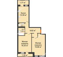 2 комнатная квартира 69,82 м² в ЖК Ярд, дом Блок 4 - планировка