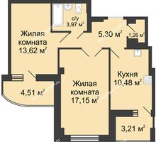 2 комнатная квартира 59,5 м² в ЖК Университетский 137, дом Секция С2 - планировка