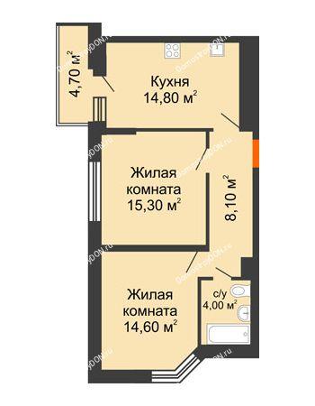 2 комнатная квартира 59,2 м² в ЖК Династия, дом Литер 2