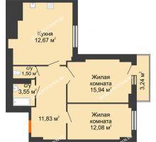 2 комнатная квартира 67,3 м², ЖК Орбита - планировка