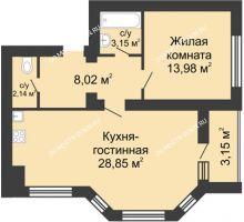 2 комнатная квартира 57,72 м² в ЖК Парк Горького, дом 62/2, №4