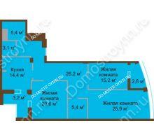 3 комнатная квартира 122 м² в ЖК Монолит, дом № 89, корп. 1, 2 - планировка