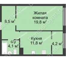 1 комнатная квартира 48,3 м² в ЖК Славянский квартал, дом № 5а, 7 - планировка