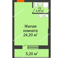 Студия 32,8 м² в ЖК Сиреневый квартал, дом Секция 3 - планировка