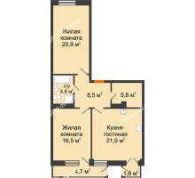 2 комнатная квартира 80,5 м² в ЖК Георгиевский, дом 6 - планировка