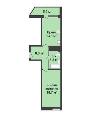 1 комнатная квартира 51,4 м² в ЖК Монолит, дом № 89, корп. 3