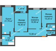 3 комнатная квартира 99,3 м² в ЖК Подкова на Цветочной, дом № 7 - планировка