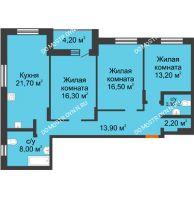 3 комнатная квартира 99,3 м² в ЖК Подкова на Цветочной, дом № 9 - планировка