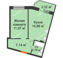 1 комнатная квартира 39,41 м² в ЖК Мандарин, дом 1 позиция 1,2 секция - планировка