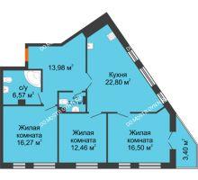 3 комнатная квартира 94,49 м² - ЖК Пушкин