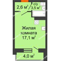 Студия 25,2 м² в ЖК Парк Победы, дом Литер 4 - планировка